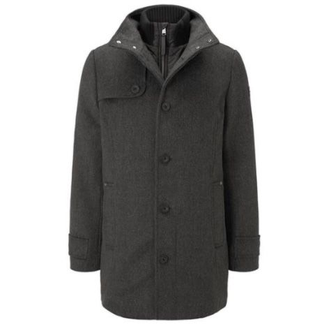 Tom Tailor Wollmantel mit gesteppter Unterjacke in Dark Grey für 44,99€ (statt 82€)   nur XXL, XXXL