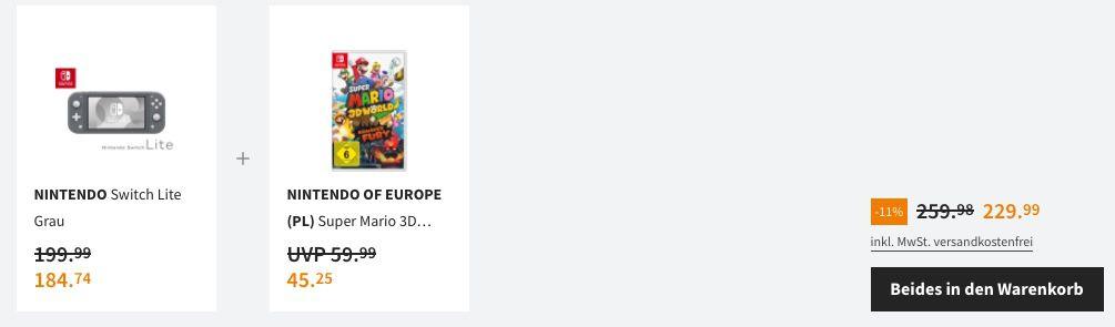 Nintendo Switch Lite inkl. Super Mario 3D World + Bowsers Fury für 219,99€ (statt 242€)