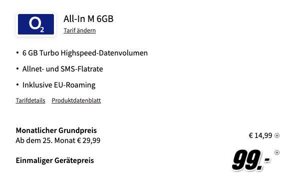 Apple iPhone SE (2020) mit 64GB für 99€ + o2 Allnet Flat mit 6GB LTE für 14,99€ mtl.