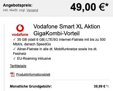 GigaKombi: Apple iPhone 12 128GB für 49€ + Vodafone Allnet Flat mit 35GB LTE/5G für 39,99€ mtl.