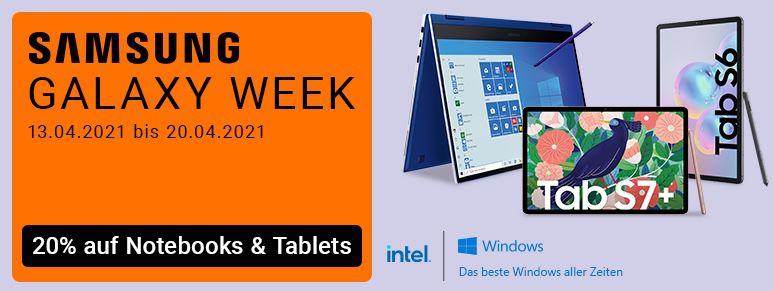 Samsung Galaxy Week bei NBB mit bis zu 20% Rabatt   z.B. Galaxy Tab S7+ 128GB für 792€ (statt 880€)
