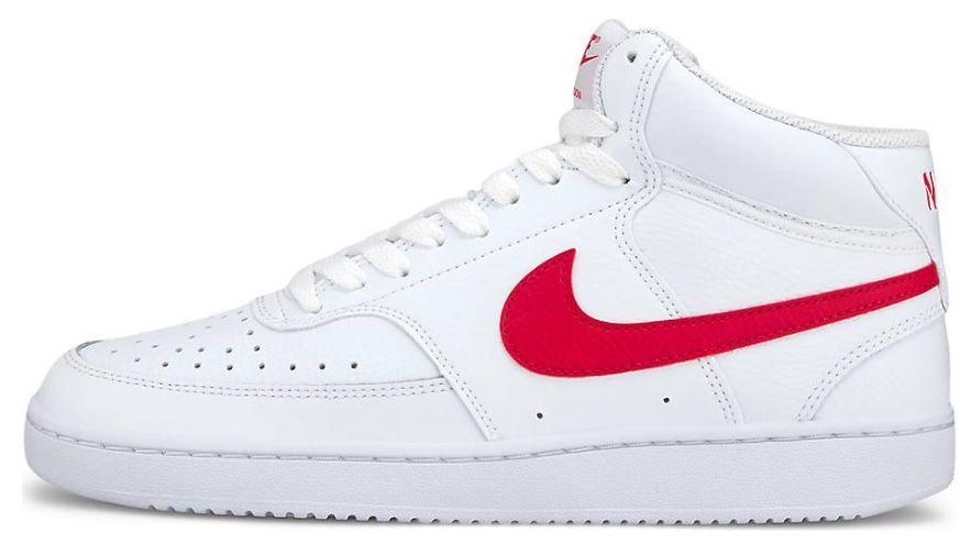 Nike Court Vision Mid Sneaker in Weiß mit rotem Logo für 41,41€