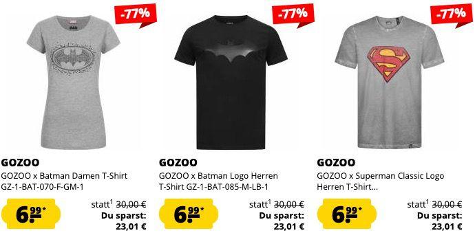 GOZOO x T Shirts im Sale   z.B. Superman oder Batman T Shirts in Restgrößen für je 6,99€