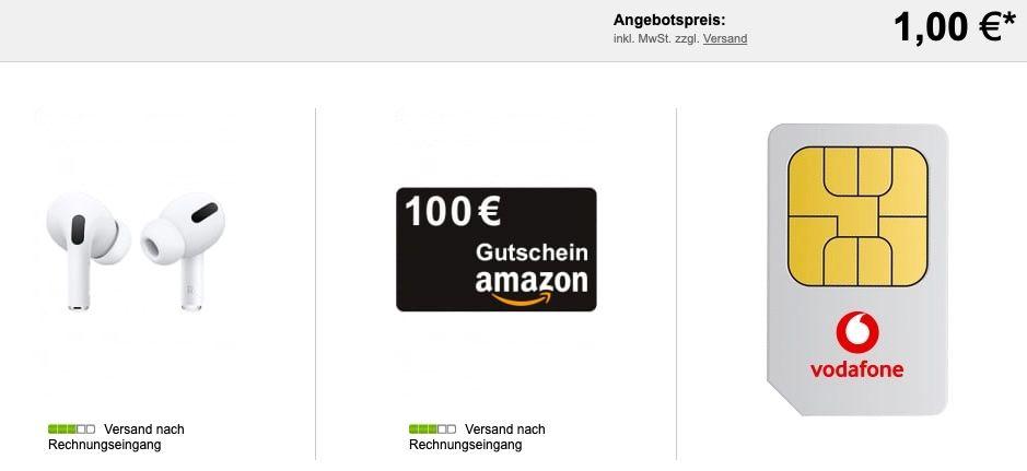 Apple AirPods Pro für 1€ + Vodafone Red Internet & Phone 1000 Cable für 42€ mtl. + 100€ Amazon Gutschein + 100€ Startguthaben