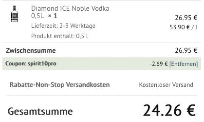 Diamond ICE Noble Vodka 0,5L für 24,26€ (statt 35€)