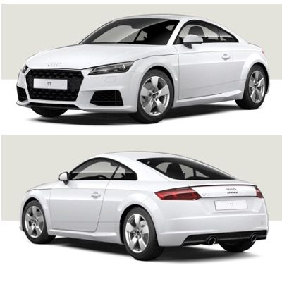 Privat: Audi TT Coupe 45 TFSI S-tronic mit 197 PS in Ibisweiß für 269€ mtl. – LF 0,63