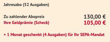 56 Ausgaben (Jahresabo) TV Hören & Sehen Abo für 130€ + Prämie: 105€ Scheck