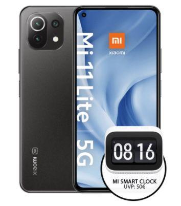 Xiaomi Mi 11 Lite 5G + Mi Smart Clock für 3,99€ + o2 Allnet-Flat mit 24GB LTE für 21,99€ mtl.