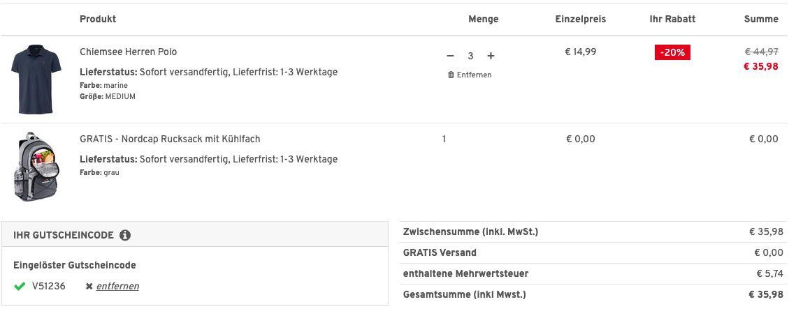 3er Pack Chiemsee Herren Poloshirt aus Baumwoll Piqué + Nordcap Rucksack mit Kühlfach für 35,98€ (statt 95€)