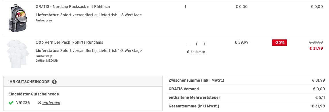 5er Pack OTTO KERN T Shirts mit Rundhals bis 4XL + Nordcap Rucksack mit Kühlfach für 31,99€ (statt 63€)