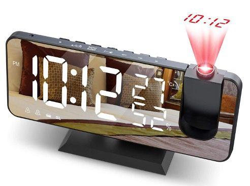 JIGA Digital Projektionswecker mit FM Radio und 7 LED Spiegelbildschirm für 19,46€ (statt 30€)