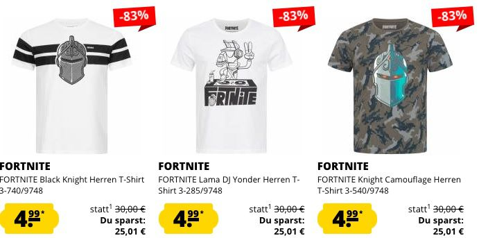 Fortnite Herren T Shirts für je 4,99€ zzgl. VSK (statt 22€)   ab 50€ keine VSK