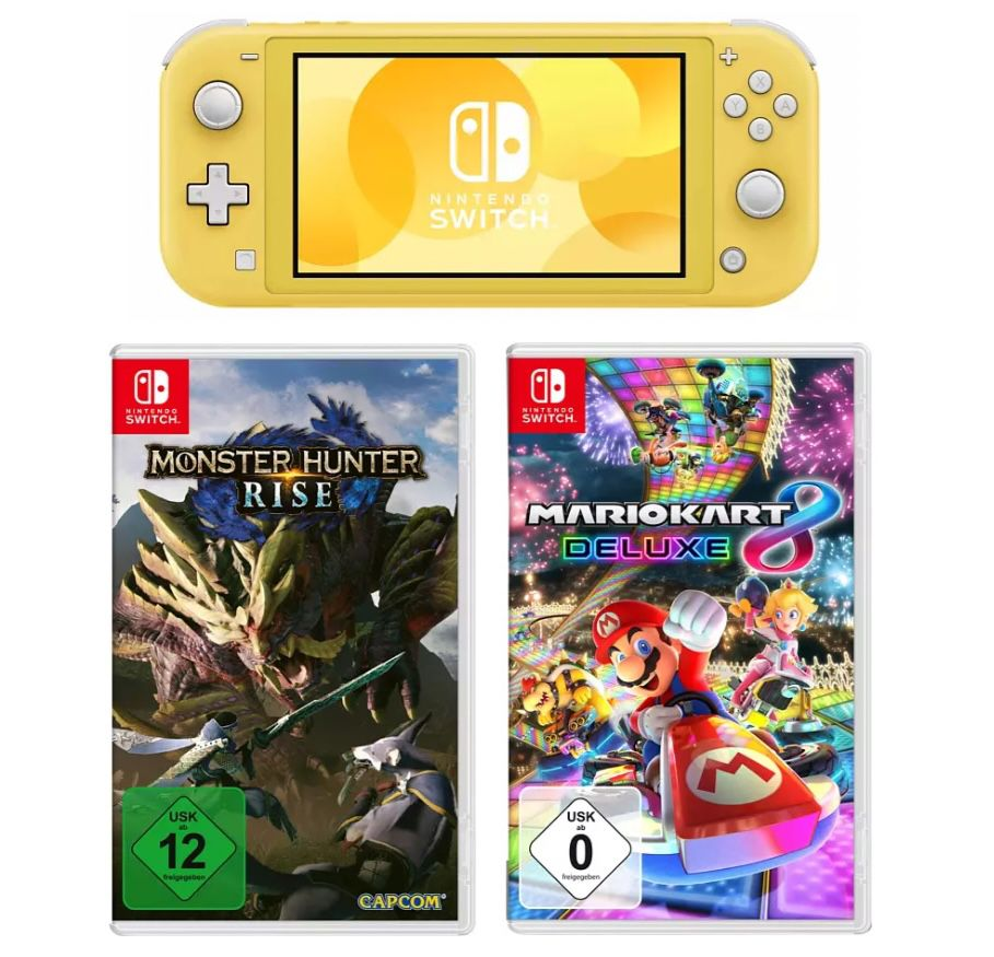 Nintendo Switch Lite in Gelb inkl. Mario Kart 8 Deluxe für 209,99€ (statt 246€)   alternativ auch mit Monster Hunter Rise