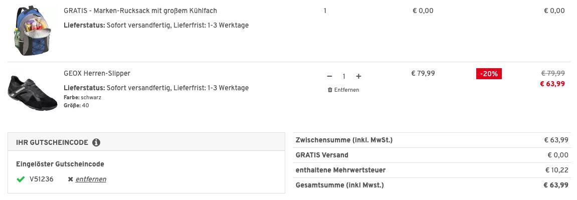 Geox Herren Slipper in 2 Farben + Nordcap Rucksack mit Kühlfach für 63,99€ (statt 90€)