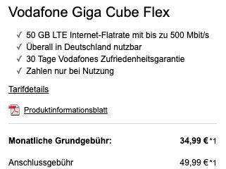 Huawei GigaCube Router für 4,99€ + Vodafone GigaCube Flex mit 50GB LTE für 34,99€ mtl. + 50€ Amazon Gutschein