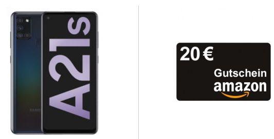 Samsung Galaxy A21s für 1€ inkl. 20€ Amazon Gutschein + Vodafone Allnet Flat von Crash mit 7GB LTE für 12,99€ mtl.