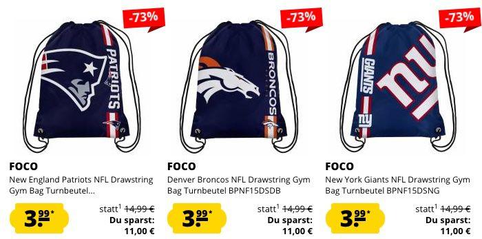 Großer NFL Sale bei SportSpar ohne VSK   z.B. New England Patriots Gym Bag für 3,99€ (statt 14€)