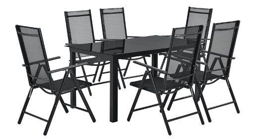 Juskys Aluminium Gartengarnitur Milano mit Tisch und 6 Stühlen in Dunkel Grau für 329,95€ (statt 380€)