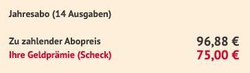 14 Ausgaben der Natur nur 96,88€ + Prämie: 75€ Verrechnungs Scheck