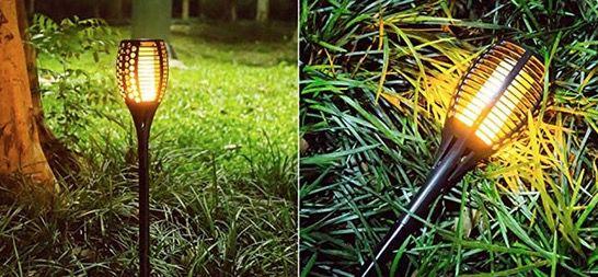 2er oder 4er Pack: TEQStone LED Solar Gartenfackeln mit Flammeneffekt ab 27,99€ (statt 40€)