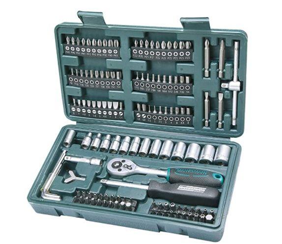 Brüder Mannesmann M29166 Steckschlüssel und Bitsatz 130 Teile für 14,96€ (statt 20€) – Prime