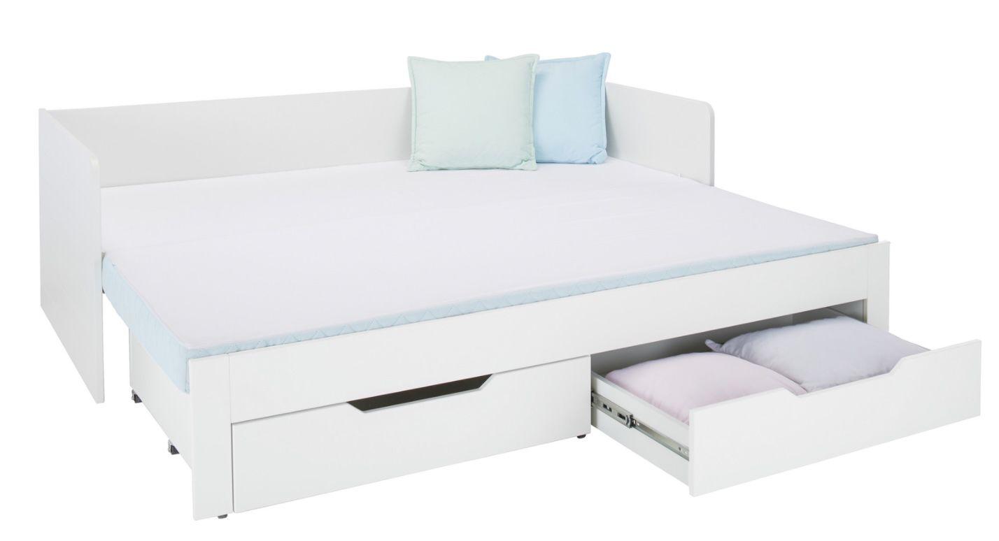 Ausziehbett in Weiß ca. 90x200cm inkl. Liegeflächen Erweiterung auf 180cm für 348,95€ (statt 429€)