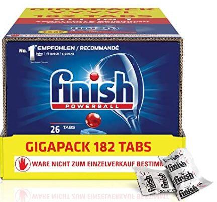 182er Pack Finish All in 1 Spülmaschinentabs ab 17,86€ (statt 24€)   Prime Sparabo