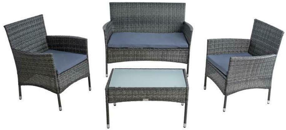 Estexo Polyrattan Sitzgruppe: Sitzbank + 2 Stühle + Tisch für 149,95€ (statt 189€)