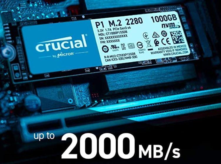 Crucial P1 2TB interne SSD PCIe NVMe M.2 für 169€ (statt 199€)