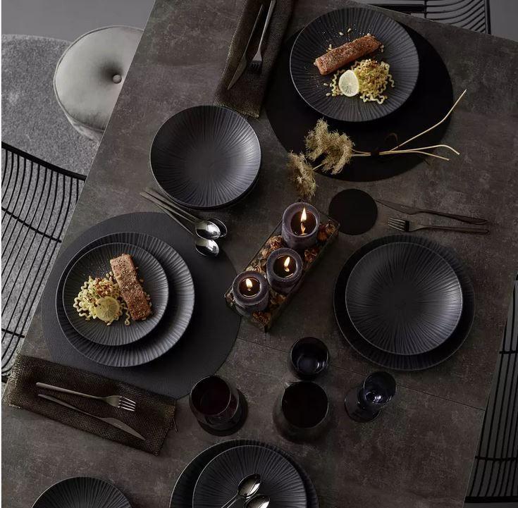 premium living Black 12teiliges Tafelservice aus Steingut für 43,94€ (statt 52€)