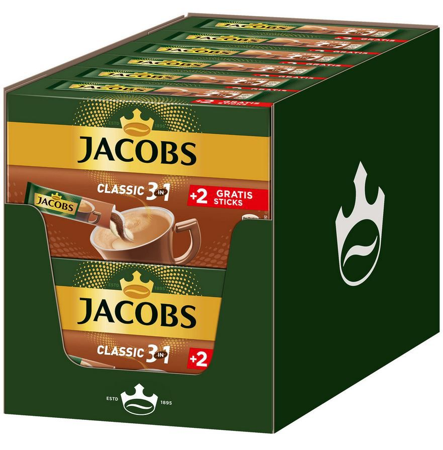 144er Pack Jacobs Löskaffee 3in1 Classic für 21,48€