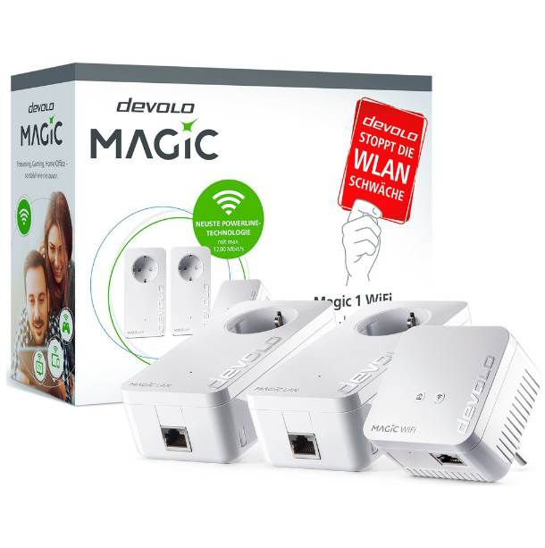 devolo Magic 1 WiFi Multimedia Power Kit (1200Mbit, Powerline + WLAN ac, Mesh) für 94,99€ (statt 128€)