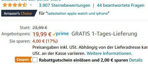 Seneo 2in1 Dual Qi Ladestation für Smartphone & iWatch für 17,99€ (statt 24€)   Prime