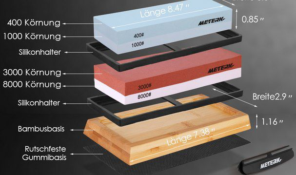 Meterk Schleifstein Set mit Winkelführung und Bambusbasis für 25€ (statt 36€)