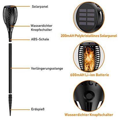 4er Pack: Ehome LED Solar Gartenfackeln mit Flammeneffekt für 23,39€ (statt 39€)