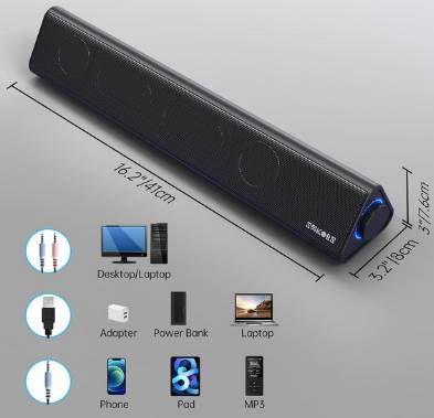 Sakobs E2021 6W Soundbar (USB / 3,5mm) für 23€ (statt 46€)