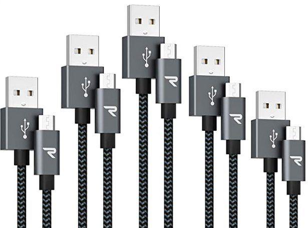 5er Pack RAMPOW Micro USB Schnellladekabel mit Nylon geflochten für 5,99€ (statt 12€)   Prime