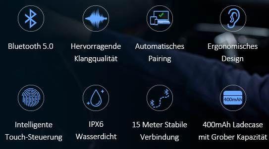ER ESTAVEL Air Buds BT 5.0 TWS InEar Kopfhörer für 14,27€ (statt 29€)
