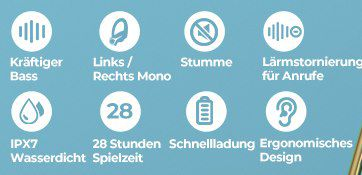 Mpow Flame Solo TWS InEar Sportkopfhörer mit bis zu 28h Spielzeit für 24,11€ (statt 36€)
