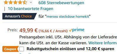 3er Pack: meross WLAN Steckdose mit Apple HomeKit & 16A für 31,99€ (statt 52€)