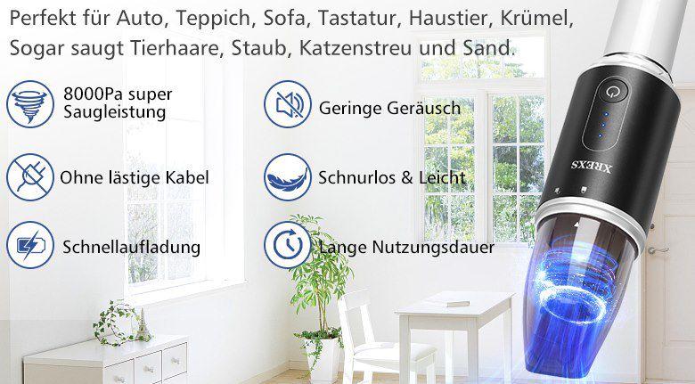 XREXS Akku Handstaubsauger mit 8kPA & HEPA Filter für 19,99€ (statt 38€)