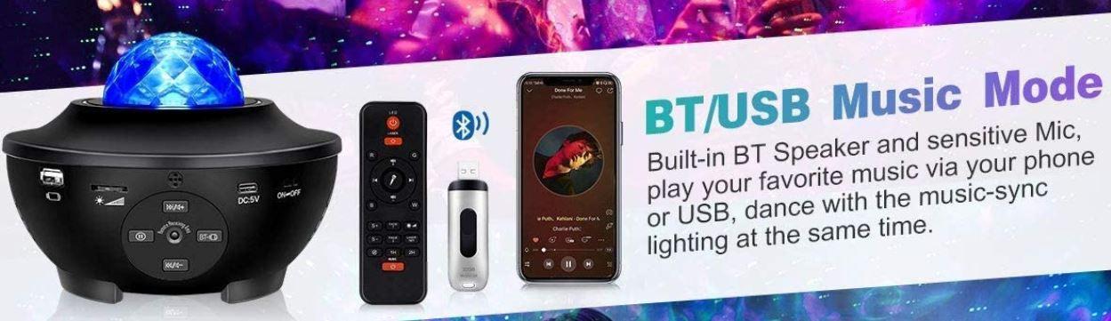 LED Sternenhimmel Projektor mit Fernbedienung & BT Lautsprecher für 23,39€ (statt 39€)