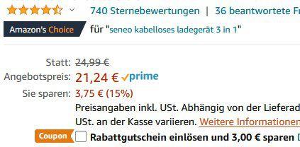 Seneo PA202A   3in1 Qi Ladestation für iWatch, Handy & AirPods für 18,24€ (statt 25€)