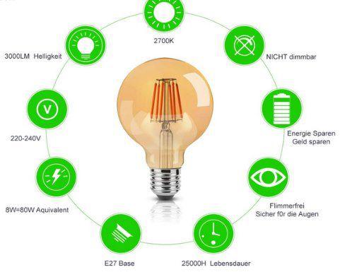 6er Pack: ONIVIB LED Edison Glühbirne (8W & E27) für 19,71€ (statt 34€)