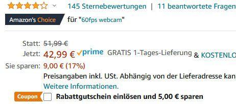 Vitade 682H   1080p Webcam mit 60 FPS für 16,49€ (statt 43€)