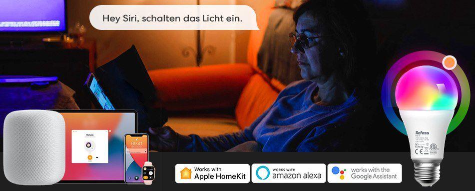 2er Pack: Refoss 9W RGB WLAN Glühlampe für HomeKit(!), Alexa & Google Home für 19,64€ (statt 25€)   Prime