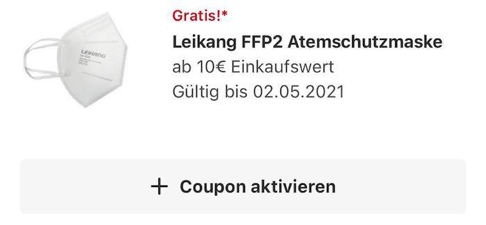 Gratis: Beim REWE Einkauf ab 10€ eine FFP2 Maske von Leikang kostenlos