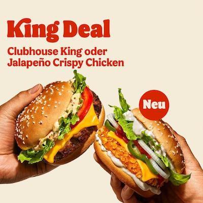 King-Deal: Clubhouse King oder Jalapeño Crispy Chicken für 1,99€ – auch ohne App-Gutschein in der BurgerKing