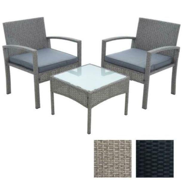 Estexo Polyrattan Sitzgruppe 2 Stühle + Tisch für 109,95€ (statt 130€)