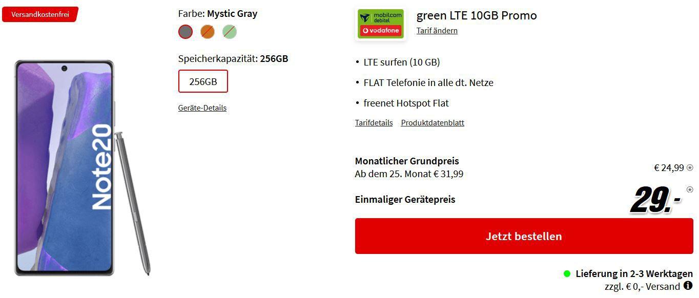 Samsung Galaxy Note20 mit 256GB für 29€ + Vodafone AllNet Flat + 10GB LTE für 24,99€ mtl.